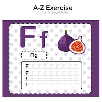 Foglio di esercizi per bambini, alfabeto f. esercizio con illustrazione del vocabolario dei cartoni animati, fig