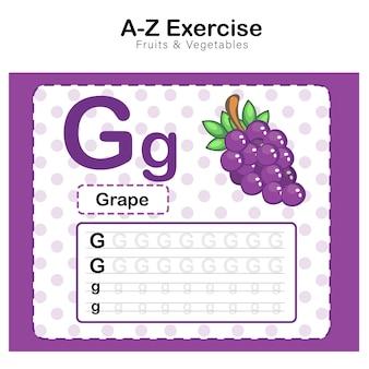 Foglio di esercizi per bambini, esercizio di alfabeto g. con illustrazione del vocabolario dei cartoni animati, uva