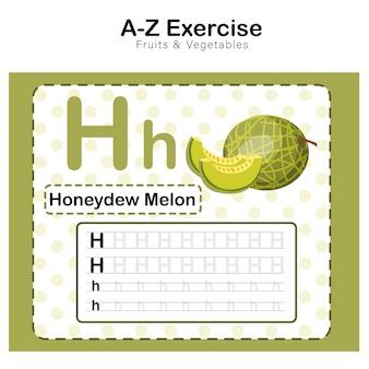 Foglio di esercizi per bambini, alfabeto h. esercizio con illustrazione del vocabolario dei cartoni animati, melone di melata