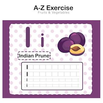 Foglio di esercizi per bambini, alfabeto i. esercizio con illustrazione di vocabolario dei cartoni animati, prugna indiana