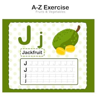 Foglio di esercizi per bambini, alphabet j. esercizio con illustrazione del vocabolario dei cartoni animati, jackfruit