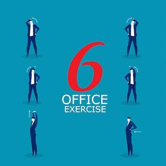 Gli esercizi con l'uomo d'affari proteggono il concetto di sindrome dell'ufficio.