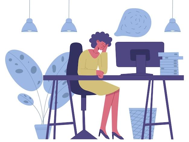 Personaggio assonnato esausto. burnout stanco del lavoratore freelance, illustrazione di vettore di problemi di salute mentale del personaggio femminile. impiegato stanco assonnato