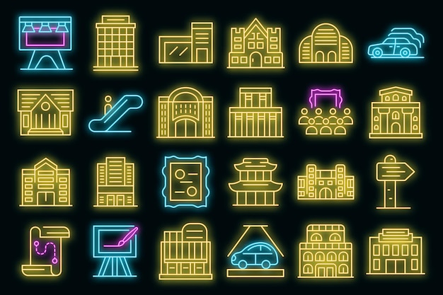Set di icone del centro espositivo. delineare l'insieme delle icone vettoriali del centro espositivo colore neon su nero