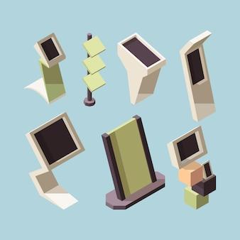 Stand espositivo. collezione isometrica di scaffali e scrivanie del mercato pubblicitario. esposizione della mostra e scaffale dell'expo, illustrazione di presentazione promozionale
