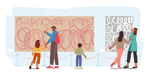 Visitatori della mostra famiglia con bambini che guardano dipinti astratti moderni appesi alle pareti alla galleria d'arte contemporanea