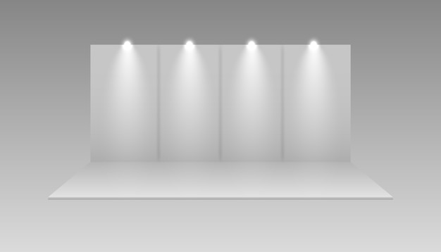 Stand di vettore vuoto bianco di mostra. esposizione della sala eventi di presentazione. stand fieristico.