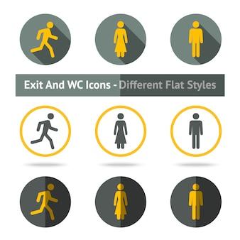 Set di icone di uscita e wc. in diversi stili piatti.