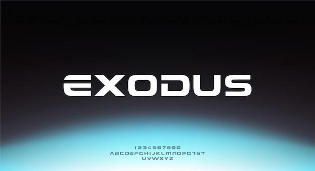 Exodus, un carattere futuristico astratto di alfabeto di fantascienza con tema tecnologico. moderno design tipografico minimalista