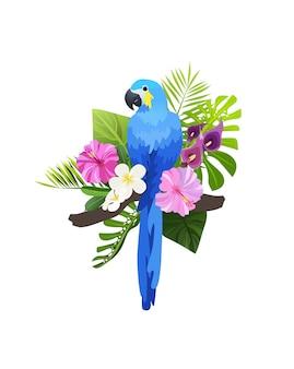 Illustrazione di uccelli esotici isolato. ara pappagallo colorato nella composizione di foglie e fiori tropicali.