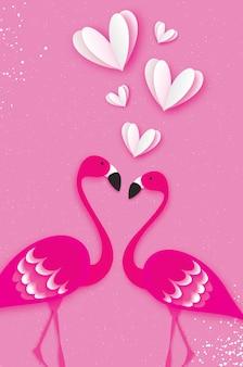 Gli uccelli esotici amano. coppia di fenicotteri