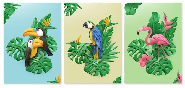Uccelli esotici e foglie tropicali. tucano, pappagallo, fenicottero.