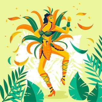 Esotico ballerino brasiliano di carnevale con fogliame tropicale