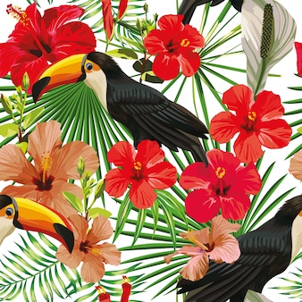 Composizione esotica da foglie tropicali tucano uccello e fiori di ibisco seamless stampa carta da parati vettoriale giungla