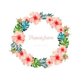 Modello di ghirlanda di fiori esotici ad acquerello