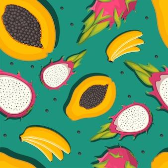 Illustrazione di raccolta di frutta esotica