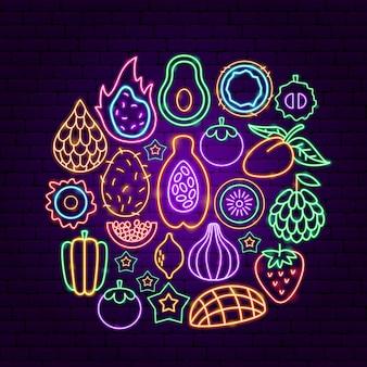 Concetto al neon di frutta esotica. illustrazione vettoriale di promozione tropicale.