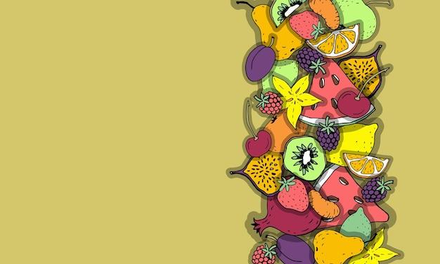 Frutta esotica bordo composizione cartone animato disegno a mano schizzo colorato sano organico vegan dieta rati...