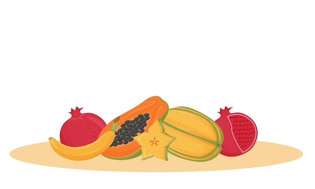Illustrazione esotica del fumetto di frutti. dessert indiano tradizionale, oggetto di colore dell'alimento biologico. varietà di frutti tropicali della papaia, della banana, della carambola su fondo bianco