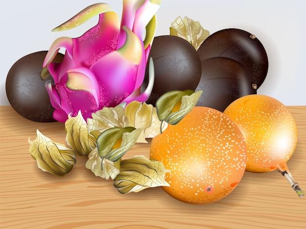 Raccolta di frutti esotici