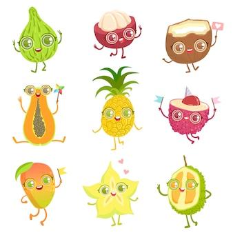 Set di personaggi dei cartoni animati girly di frutta esotica