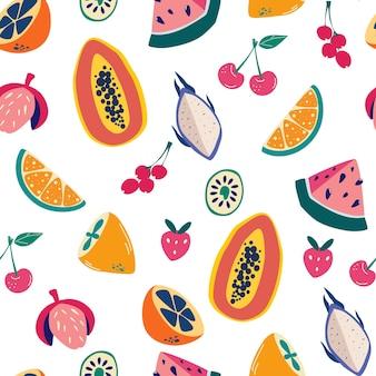 Modello senza cuciture di frutti esotici. disegnare a mano mix di frutta colorata. vibrazioni estive. design esotico moderno per carta, copertina, tessuto, arredamento d'interni. texture vettoriale per tessuti, carta da imballaggio, imballaggi ecc.