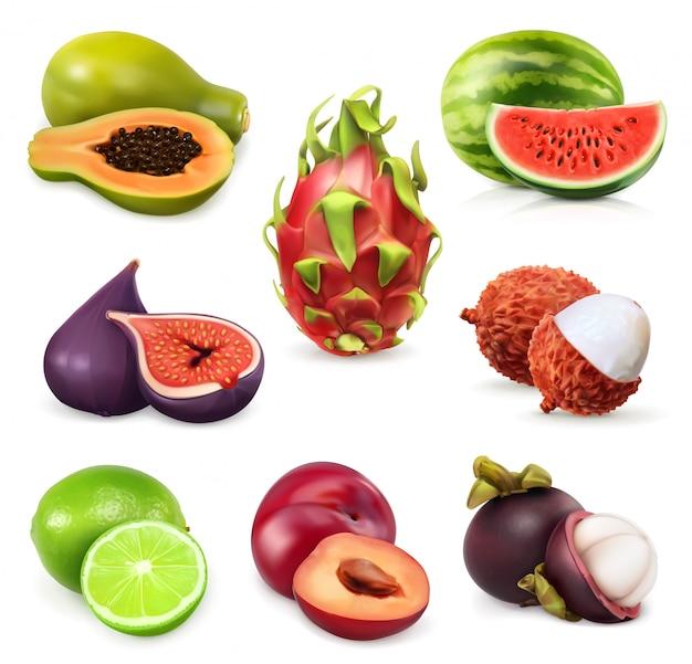 Set di frutti esotici, succosi frutti tropicali maturi. Vettore Premium