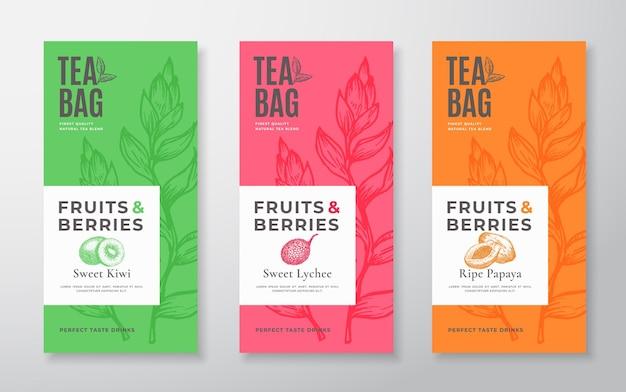 Set di etichette per tè con frutti esotici, layout di design di imballaggi vettoriali astratti, bundle di tipografia moderna a mano ...
