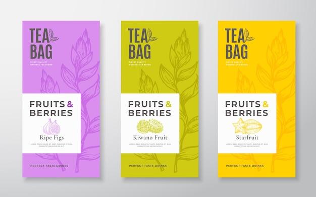 Set di etichette per tè con frutti esotici layout di progettazione di imballaggi vettoriali raggruppano tipografia moderna tè disegnato a mano ... Vettore Premium