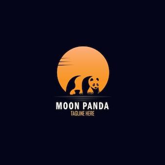 Design esotico del logo della luna piena e del panda