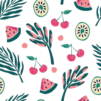 Modello senza cuciture di frutti e piante della giungla esotica. kiwi, fette di anguria, ciliegie e frutti di bosco. modello senza cuciture floreale contemporaneo. progettazione grafica di costumi da bagno in tessuto tessile per la stampa. vettore