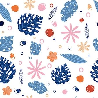 Esotiche giungla estiva stampa piante di foglie di palma tropicale. modello, vettore di vernice senza soluzione di continuità su sfondo nero. carta da parati della natura