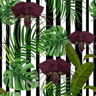 Giungla esotica con monstera, foglie di palma e fiori di tacca.