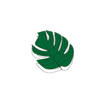 Monstera esotica continua un disegno a tratteggio estate tropicale foglia disegnata a mano su sfondo bianco