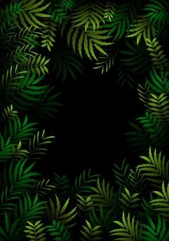 Modello esotico con foglie tropicali nella foresta oscura