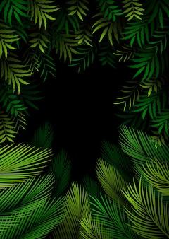 Modello esotico con foglie tropicali sulla foresta