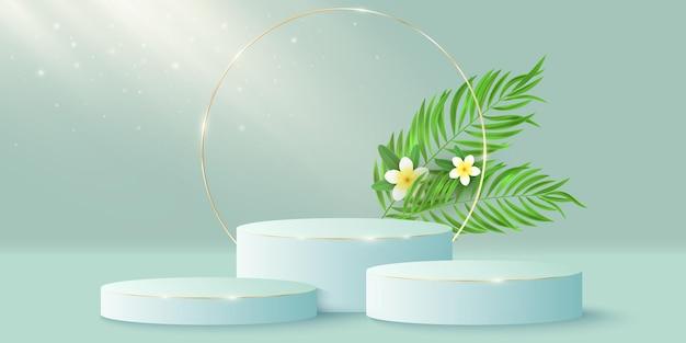 Piedistallo elegante esotico e cerchio dorato con fiore di plumeria e foglia di palma. palco o podio 3d. effetto fascio di luce.