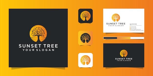 Biglietto da visita logo esotico albero e tramonto