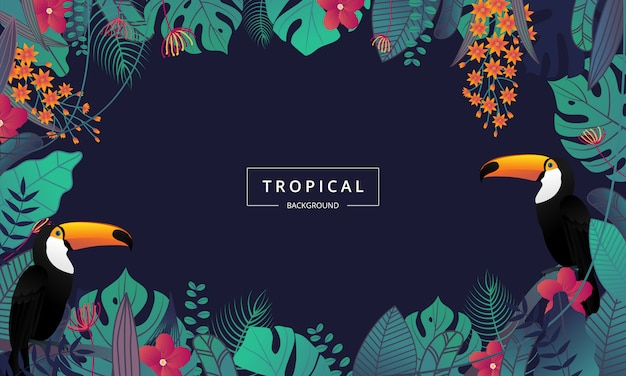 Sfondo tropicale esotico decorato con foglie di palma e uccelli tucano