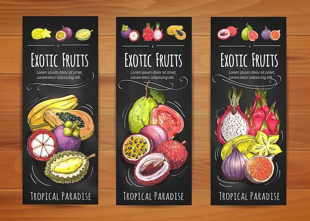 Banner di frutti tropicali esotici con papaia