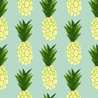 Modello esotico di frutti tropicali su fondo blu. carta da parati disegnata a mano di ananas