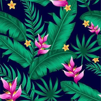 Sfondo vettoriale tropicale esotico con piante e fiori hawaiani.
