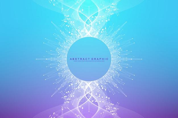 Espansione della vita. sfondo colorato esplosione con linea collegata e punti, flusso d'onda. visualizzazione tecnologia quantistica. esplosione di sfondo grafico astratto, scoppio di movimento, illustrazione.