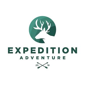 Avventura spedizione deer antlers logo template