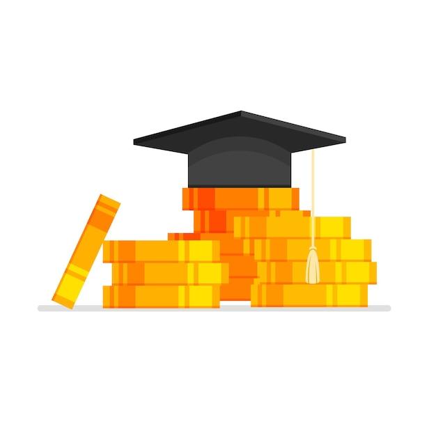 Concetto di educazione costoso cappello di laurea sul mucchio di monete tassa di apprendimento universitario o universitario