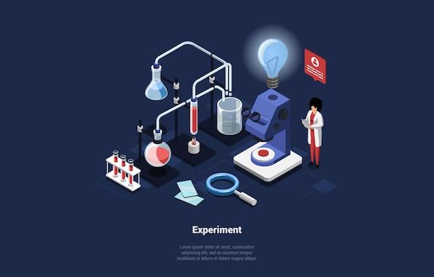 Illustrazione di concetto di esperimento su blu scuro