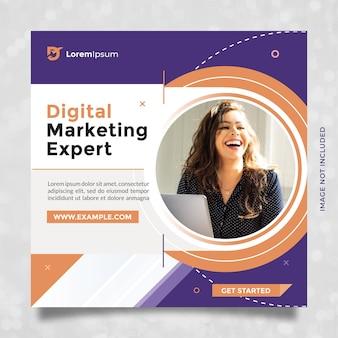Progettazione di modelli di agenzia di marketing digitale esperta per post e banner sui social media con arancio blu