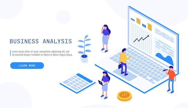 Team di esperti per analisi dati, statistica aziendale, management, consulenza, marketing. banner web isometrico per landing page. illustrazione vettoriale.