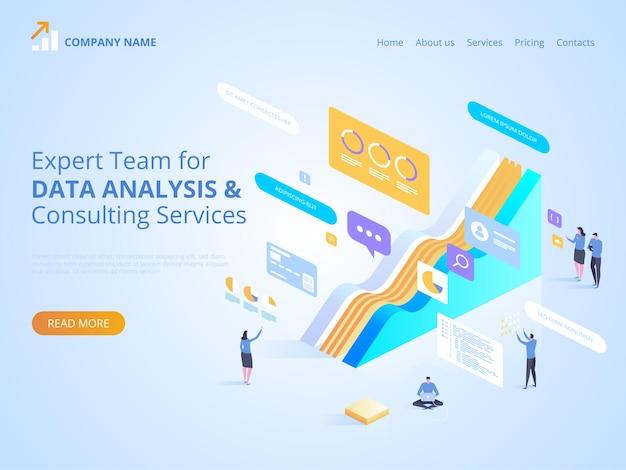 Team di esperti per analisi dei dati e servizi di consulenza. illustrazione isometrica per pagina di destinazione, web design, banner e presentazione.