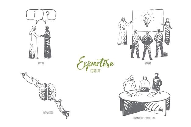 Illustrazione di schizzo di concetto di consulenza di lavoro di squadra di esperienza